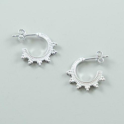LAVI Sterling Silver Hoop Stud Earrings - Bali
