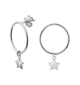LAVI Silver Stud Hoop Earrings with a charm