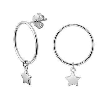 LAVI Silver Stud Hoop Earrings with a charm