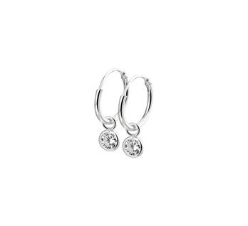 LAVI Silver Hoop Earrings with a Zircone charm