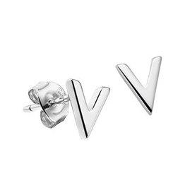 "LAVI Silver Ear Studs "" V """