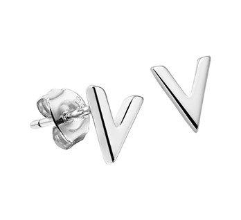 """LAVI Zilveren Oorknopjes """" V """""""