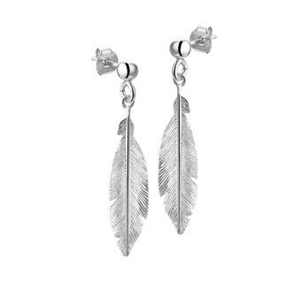 LAVI Trendy Feather Earrings Silver
