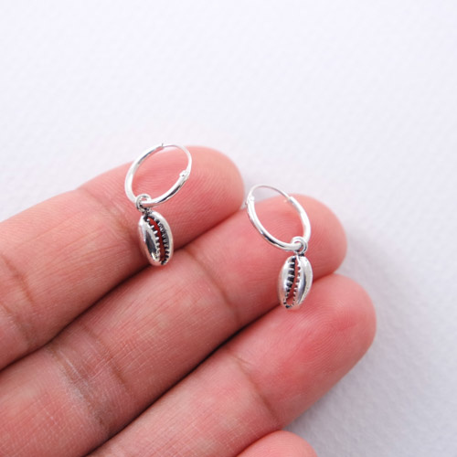 Silver Hoop Earrings with a shell  charm