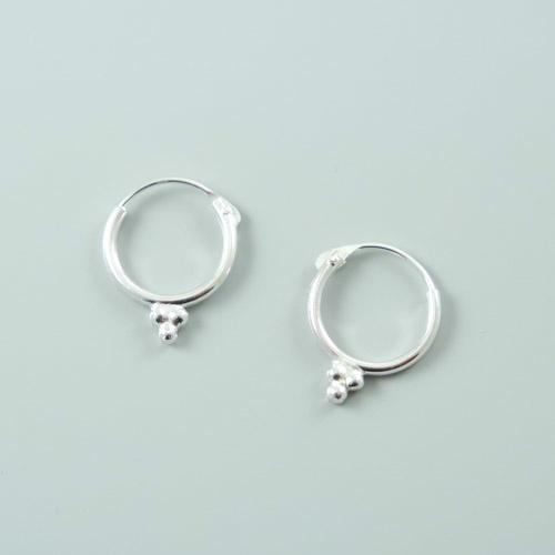3 dots Hoop Earrings 925 Silver