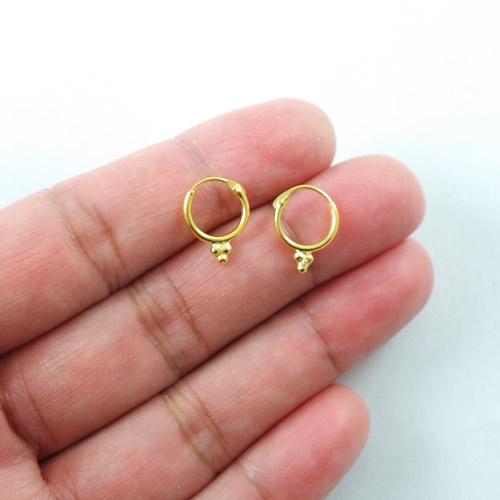 Gold colour 3 dots Hoop Earrings