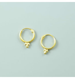 Gold colour 3 dots Hoop Earrings