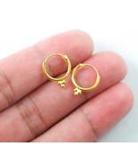 Gold plated 3 dots Hoop Earrings