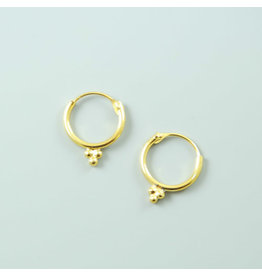 Gold plated 3 dots Hoop Earrings