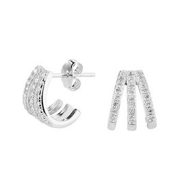 Triple Hoops  Zirconia Earrings