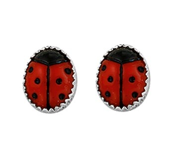 Ladybug Ear studs with Silver