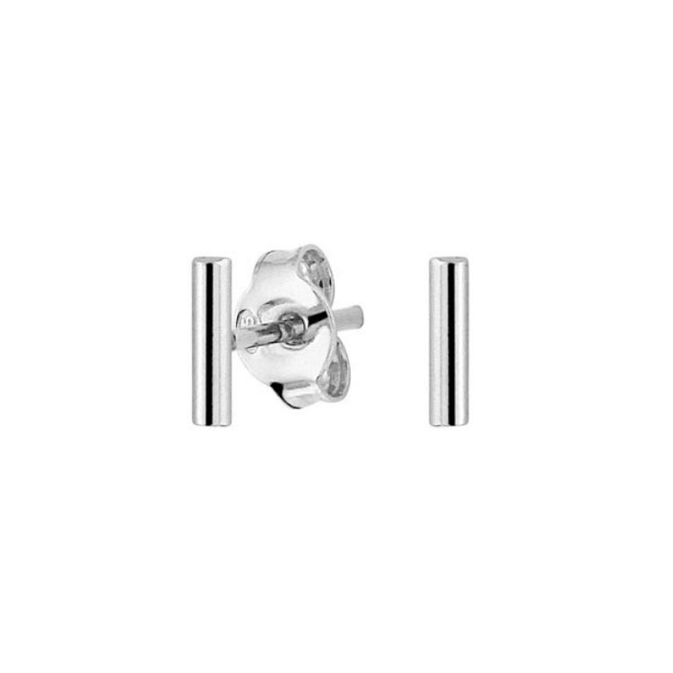 LAVI Rhodium plated Silver Bar Stud Earrings