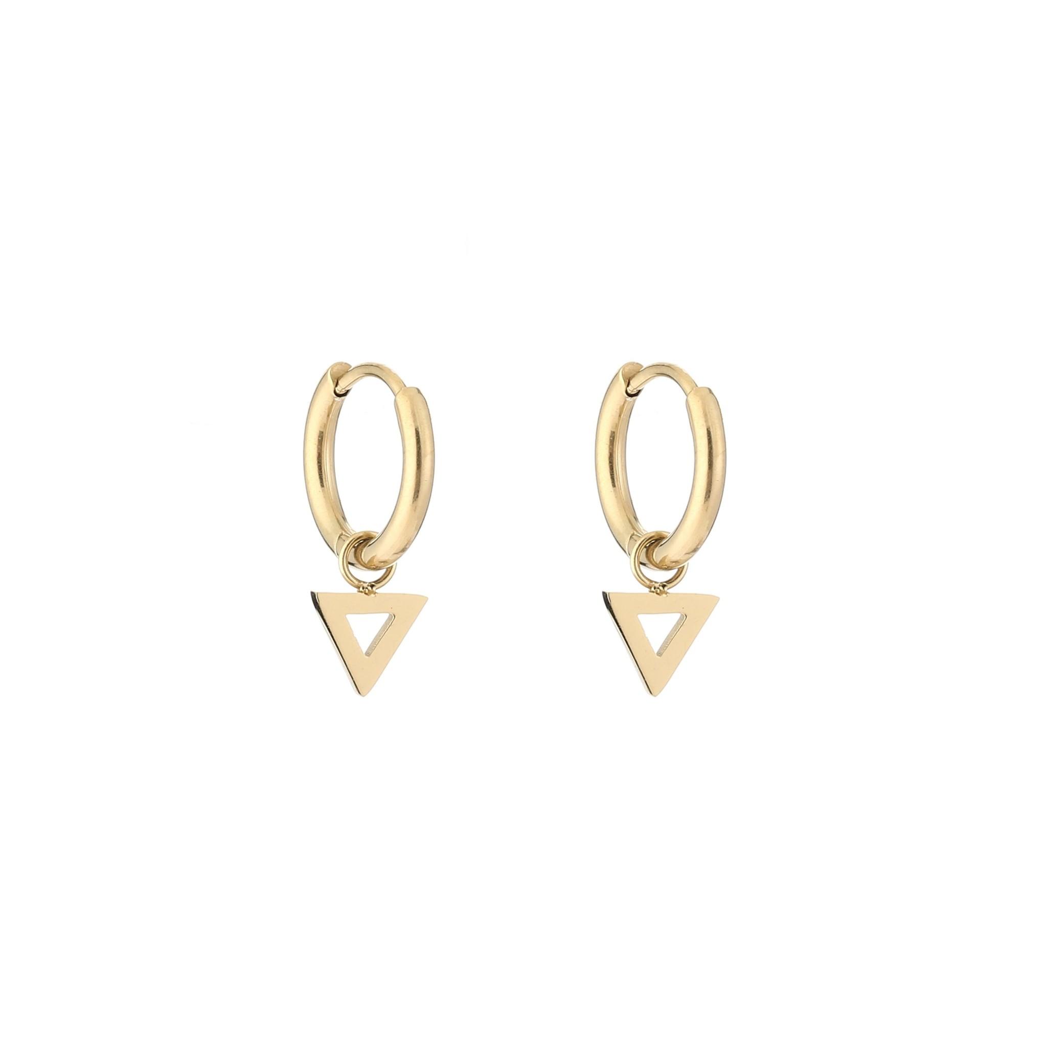 Open Triangle Gold Hoop Earrings