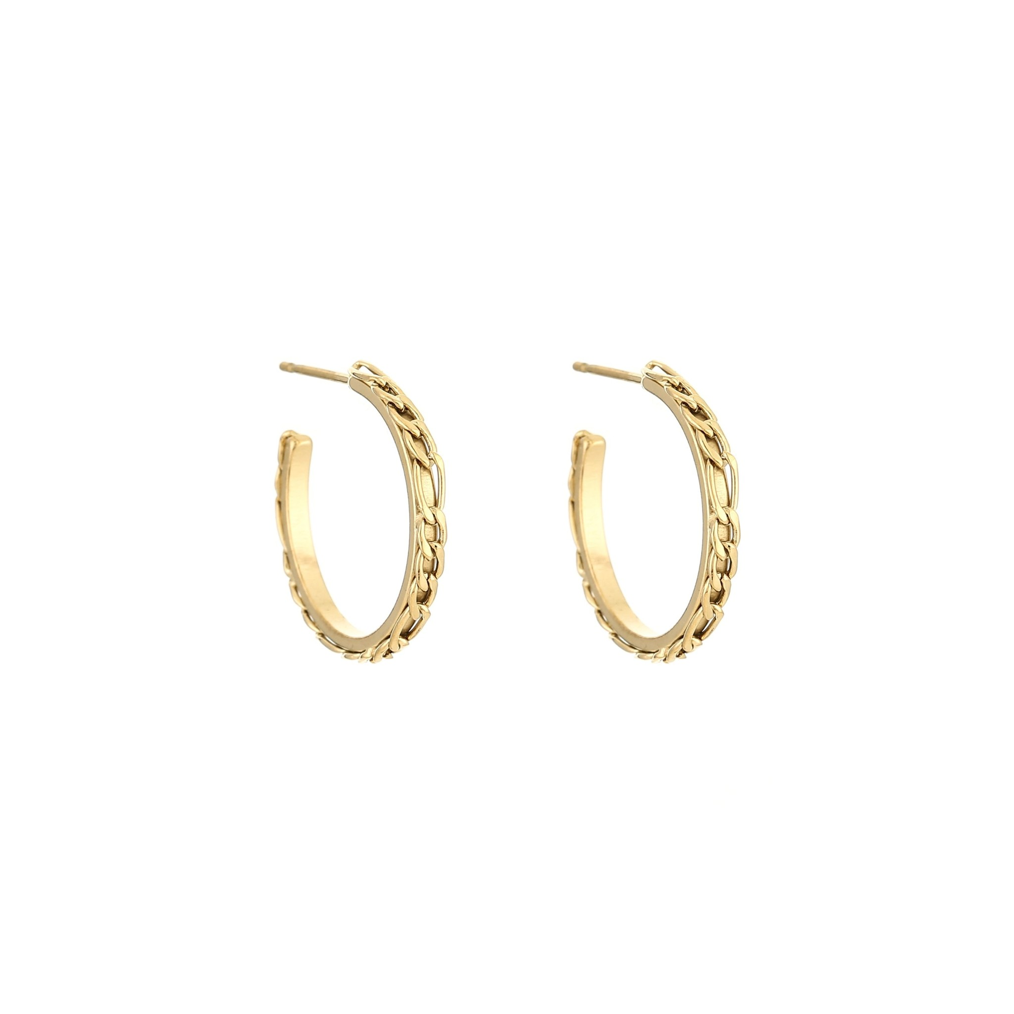 Stainless Steel Hoop Earrings with Chain Pattern