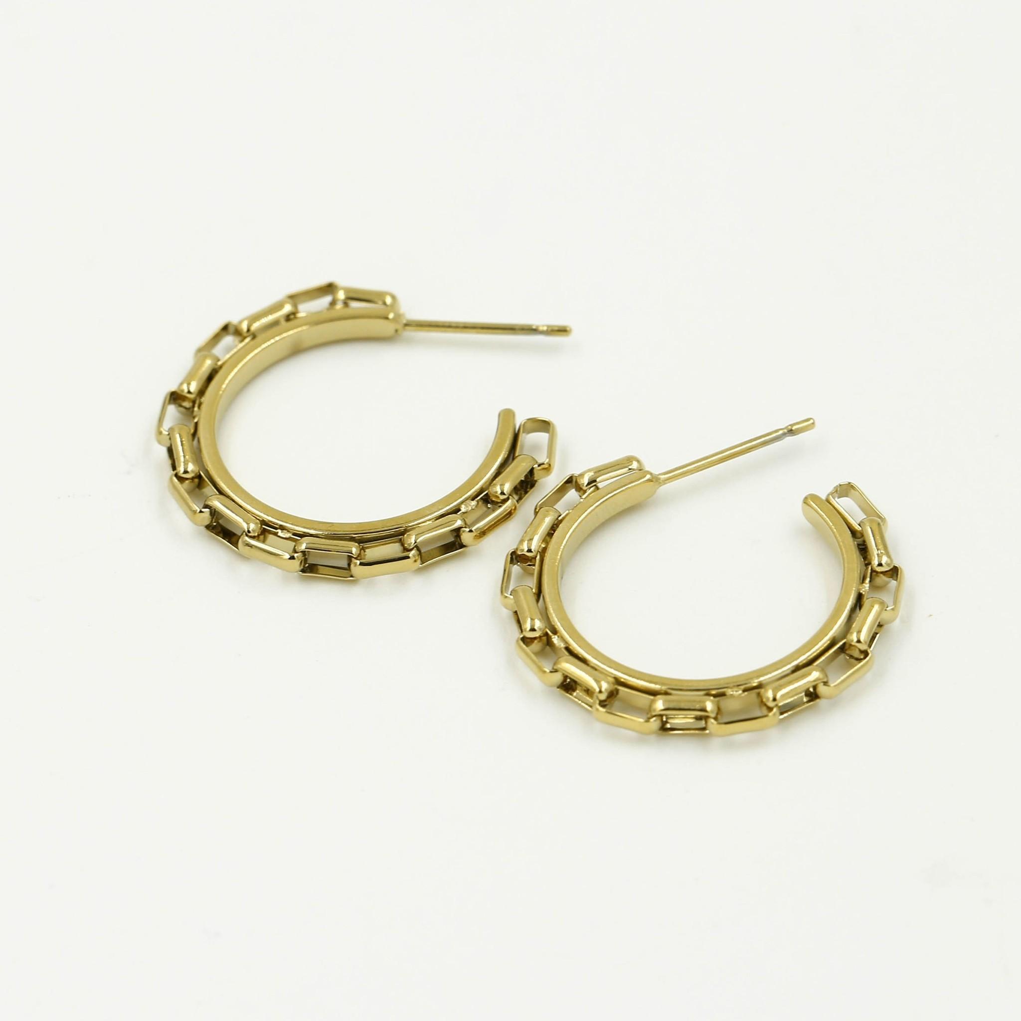 Gold Hoop Earrings Chunky Chain Links