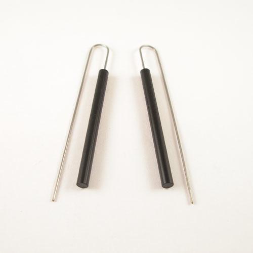 Modern Long Bar Earrings - Black
