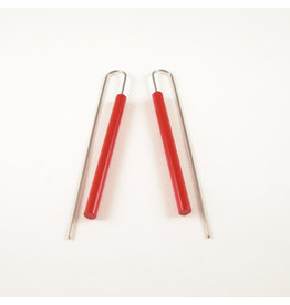 Modern Long Bar Earrings  - Red