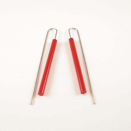 Moderne Lange staaf oorbellen - Rood