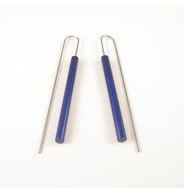 Modern Long Bar Earrings - Metalic Blue