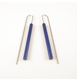 Moderne Lange staaf oorbellen - Metalic Blauw