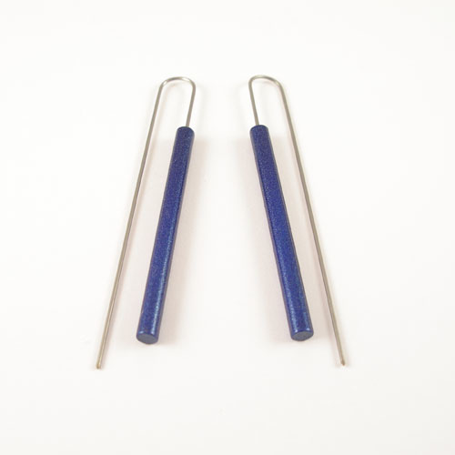 Modern Long Bar Earrings - Metalic Blue