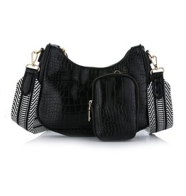 Black Shoulder Bag - Croco