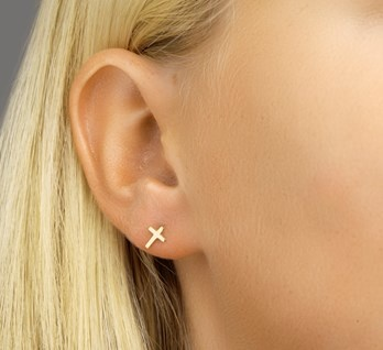 LAVI Cross Ear Studs Gold Plated