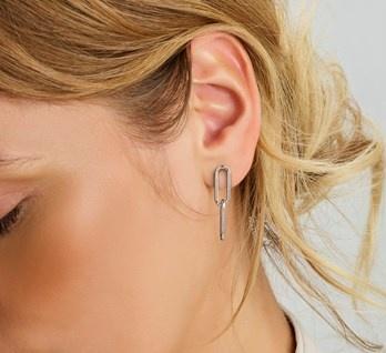 Paper clip Ear Studs 925 Silver
