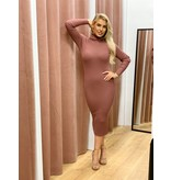 Ribbed Col Jurk-  Oud Roze