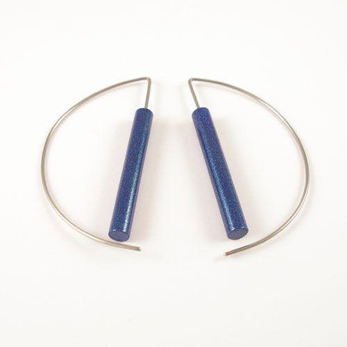 Moderne oorbellen - Metalic Blauw