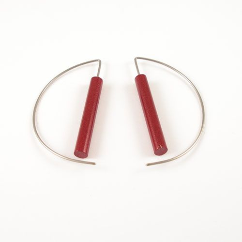 Modern Earrings - Metalic Red