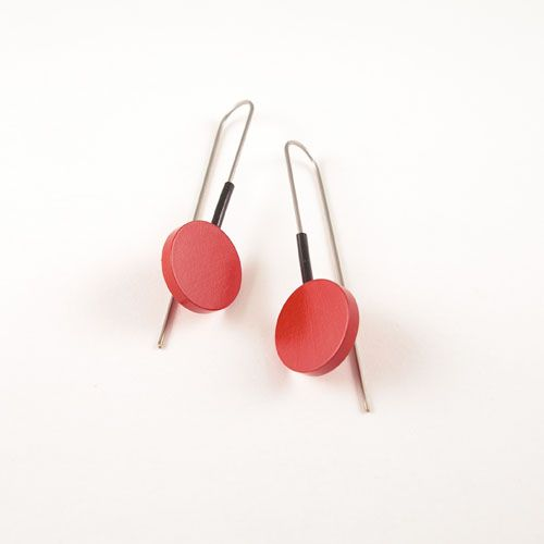 Moderne oorbellen Rood