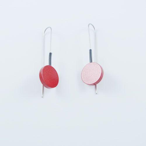 Moderne oorbellen Metalic Rood