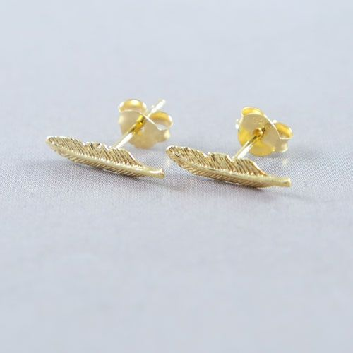 LAVI Gold Plated Feather Ear Studs
