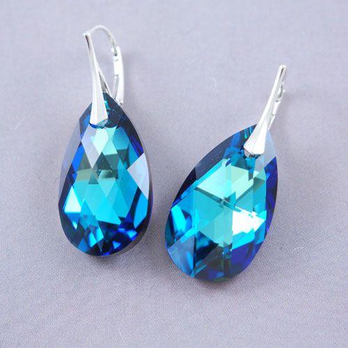 LAVI Swarovski Oorhangers Bermuda Blauw