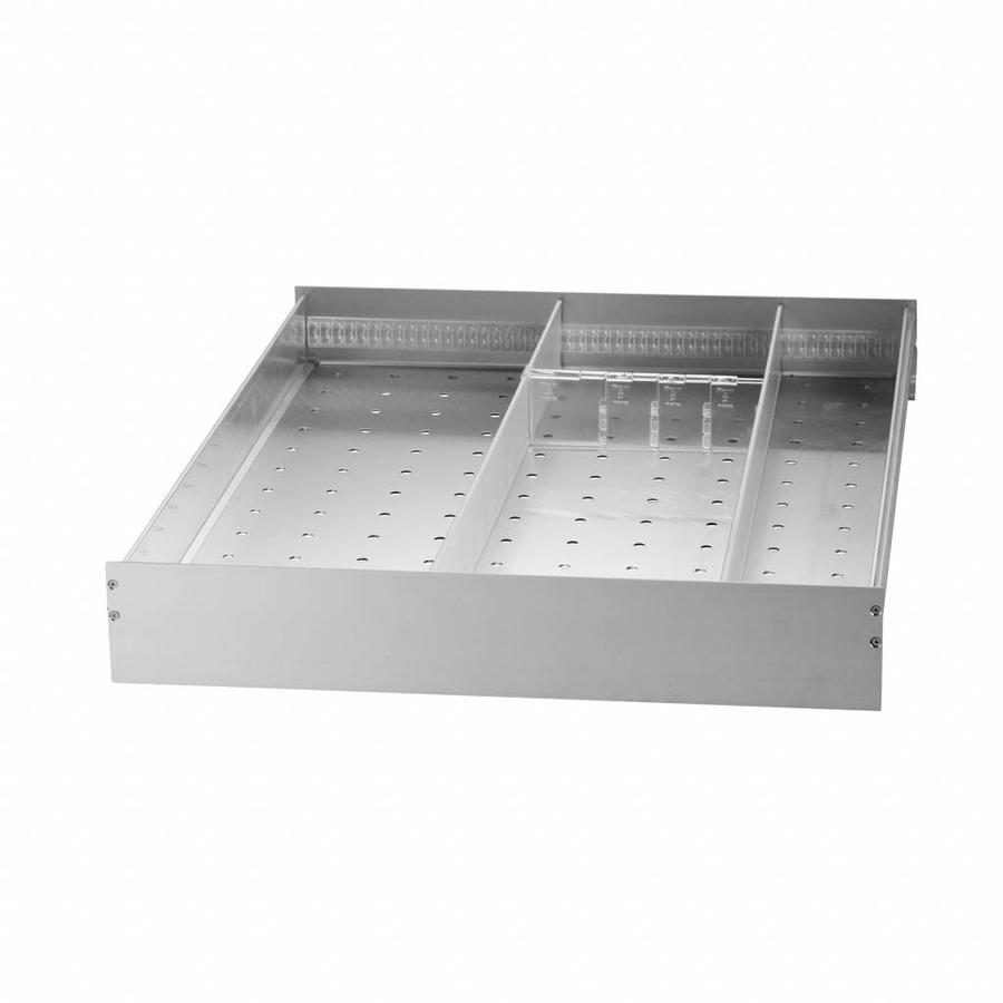 Aluminium lade met vakverdeling