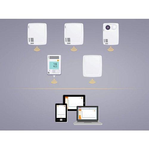 Testo 160 THE- WiFi datalogger geïntegreerde sensoren voor temperatuur, vochtgehalte en 2 externe sensor aansluitingen