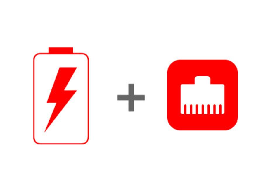 iPad POE voeding en bedraad internet (optie+kabel)
