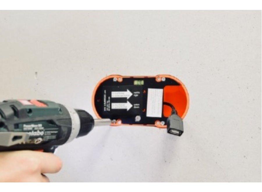Montageset inbouwdoos 230V > USB A