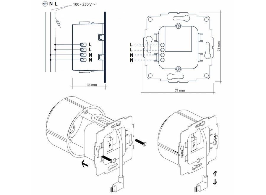 Inbouw 230v USB-C lader 12W