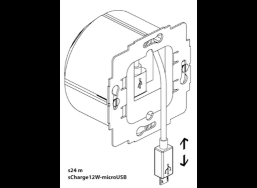 Inbouw 230v Micro-USB lader 12W