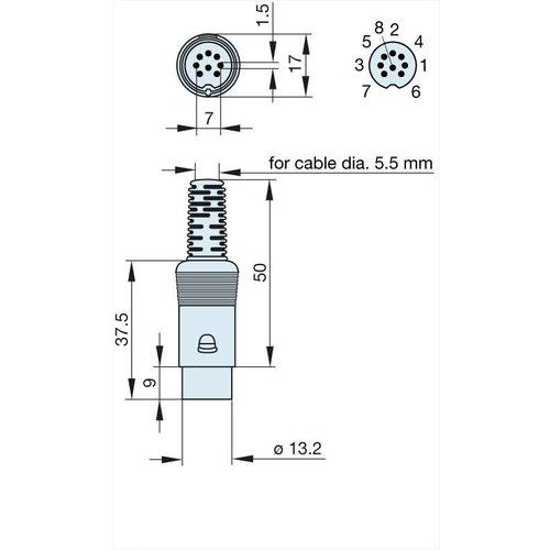 bang & olufsen Plug DIN 8 pin male voor Bang en Olufsen apparatuur