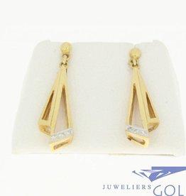 vintage 18k gouden oorstekers met 6 briljanten