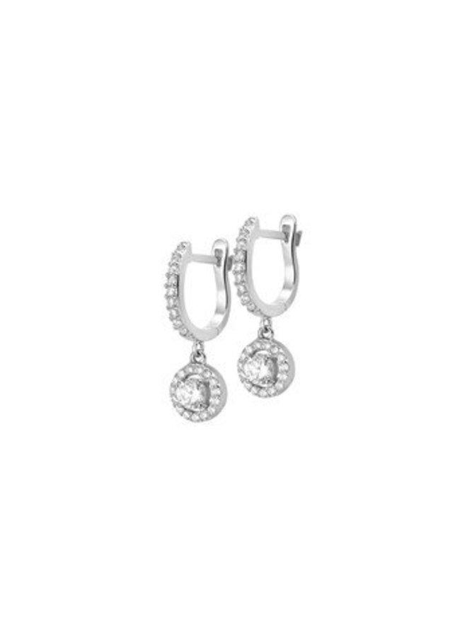 Zilveren oorstekers, clips met zirconia