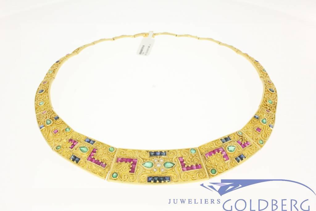 18k gouden collier met robijn, saffier, smaragd & diamant