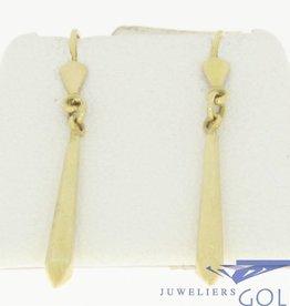 vintage 14k gouden oorhangers met vierkante pegels