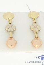 vintage 14k 3-color gouden oorstekers
