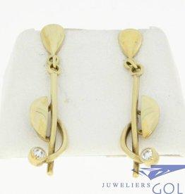 vintage 14k gouden oorstekers met zirconia