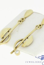 design vintage 14k gold earstuds with zirconia