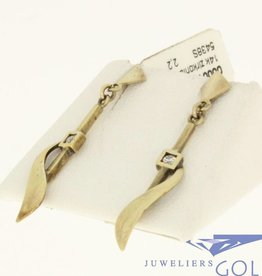 vintage 14k gold earrings with 2 zirconia's